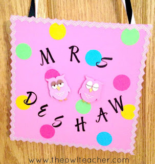 "Name display for door with text ""Mrs. DeShaw"""