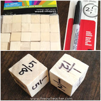 Wooden blocks that can be used as dice and a Sharpie