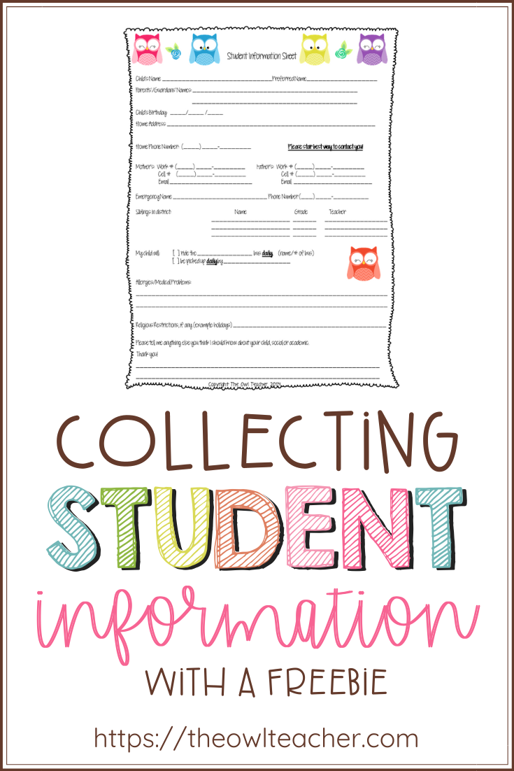It\'s critical to collect student information in a binder for a substitute or for classroom management. This post provides you with the perfect form to collect vital information about your students for your organized binder - and it\'s FREE!