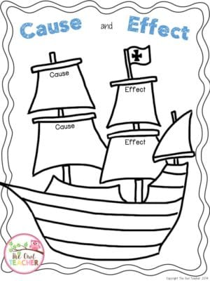 Thanksgiving Activity: Mayflower Cause and Effect