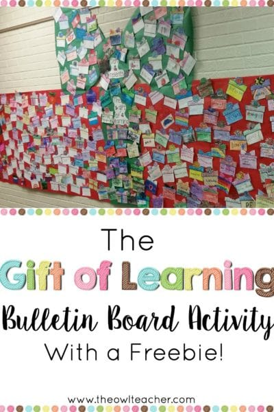 Create an adorable bulletin board with this gift of learning activity for the holidays.  This blog post has the present printable freebie to get started!