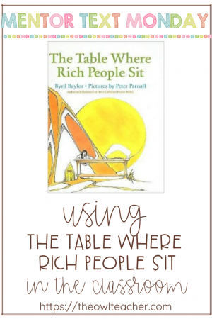 This mentor text is perfect for teaching about character change and theme in fictional reading. Students will also need to use the reading strategy of synthesizing and making connections.