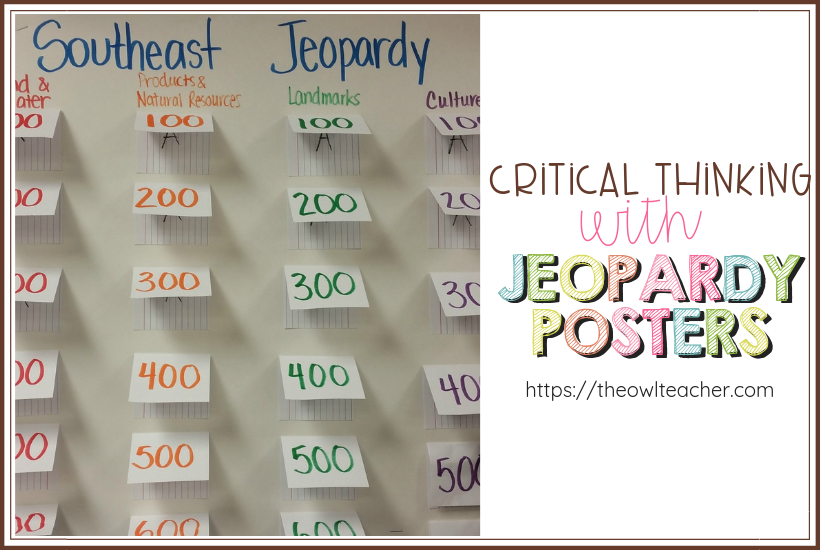 Engage your students in critical thinking with this Jeopardy review cooperative poster learning activity for any content area!