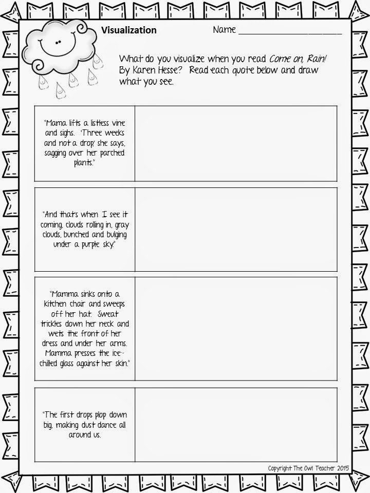Click here for a FREE visualization sheet to use along with this week's Mentor Text Monday!
