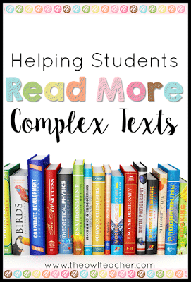 The Common Core Reading Standards say that when we teach reading we need to make sure students are reading more complex texts! How can we do that? With these ideas and tips of course! (Plus there is a freebie to get your students started!)