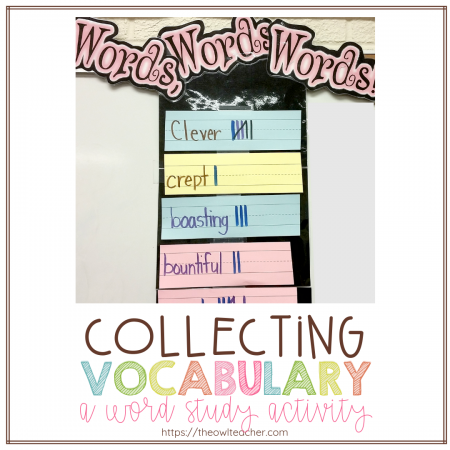 Teaching Tier 2 Vocabulary in the elementary classroom can be engaging with this simple word study activity and lessons! Check out this idea for collecting vocabulary!