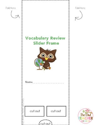 Help your students study and test their vocabulary review knowledge using this free slider frame that can be used as a literacy center or for early finishers! And it's editable!
