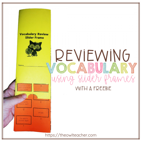 Help your students study and review their vocabulary words using this free slider frame that can be used as a literacy center or for early finishers! And - It's editable!