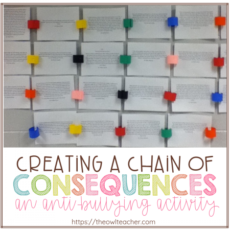 This writing activity creates a bulletin board display that shares the consequences of bullying through a chain of events!