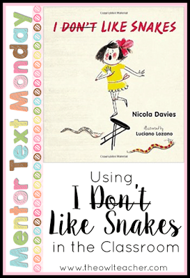 I Don't Like Snakes- no, really.  They are creepy.  But this picture book- I like!  It's a fantastic text of both fiction and nonfiction elements in it that will engage your students as you teach all about the science ideas of animals, classification, and adaptation.  But that's not all it can be used for... Check it out!