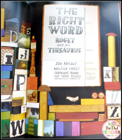 """The Right Word: Roget and his Thesaurus"" can be used as a mentor text for teaching about nonfiction, parts of a book, synonyms, vocabulary and more."