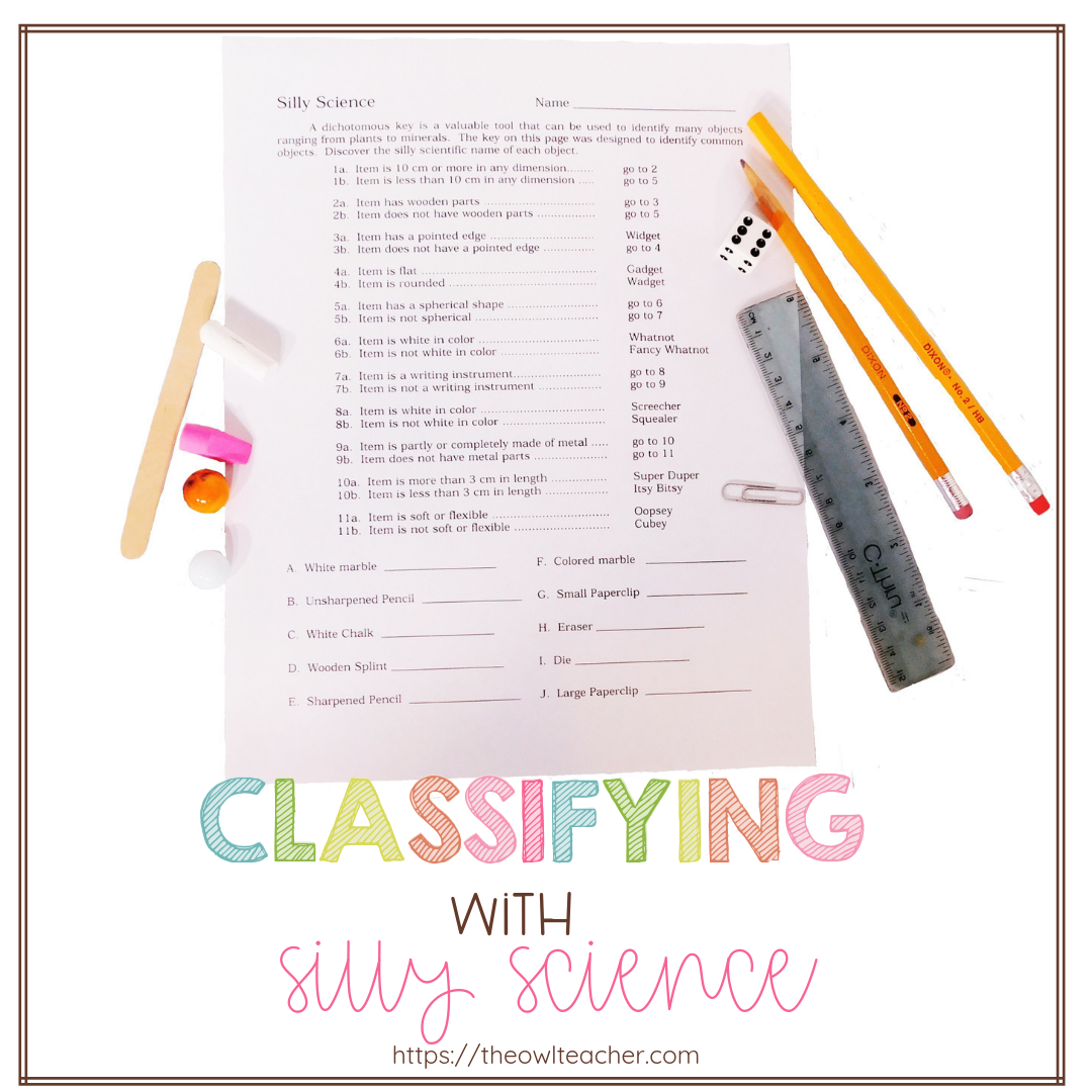 Classification is one of those skills that are necessary to teach when teaching science, especially when teaching about the scientific method. This engaging activity is a way to help students understand how scientists classify living things (dichotomous key).