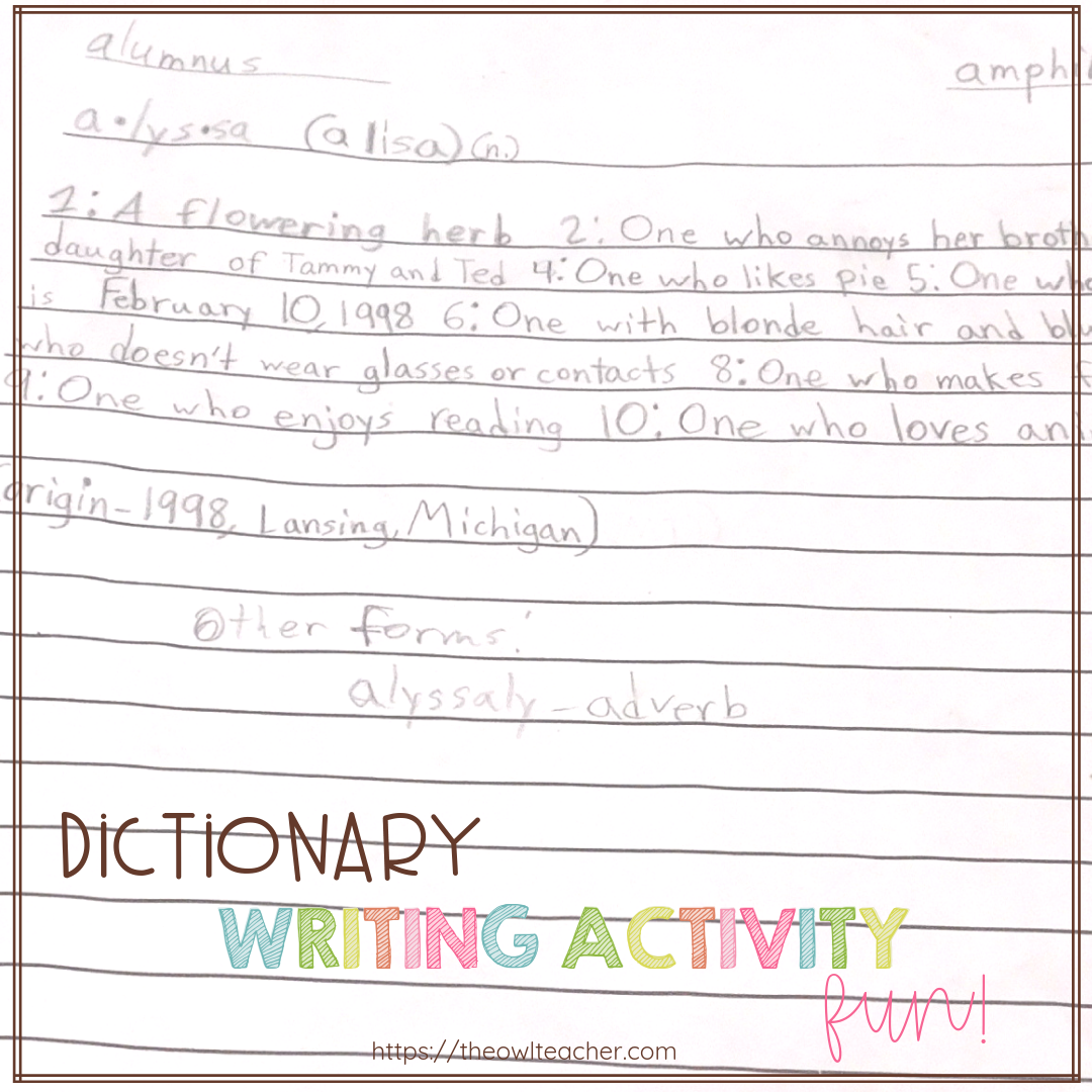 This engaging writing activity is a fun way to teach dictionary skills and reference skills while incorporating creative writing! Check out this easy and engaging writing idea!
