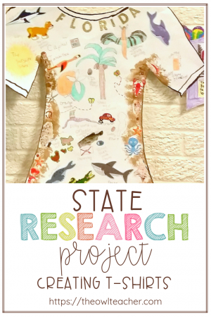 For this social studies and writing project, we explored nonfiction books to learn about U.S. States. We took notes on a graphic organizer, created an information writing piece, and then created our state tourist t-shirts! The students were really engaged with this fun research idea! Check it out here to learn just how we did it!