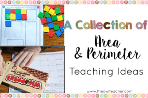 If you teach upper elementary math, then you probably need to teach area and perimeter. This blog post shares a collection of ideas for teaching area and perimeter, curated from several upper elementary bloggers! Click through to read more and get links!