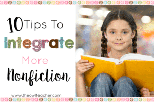 In search of ways to integrate more nonfiction into your class instruction? This blog post lists 10 ideas for bringing in more nonfiction texts and reading activities. Click through to learn more about how to integrate more nonfiction!