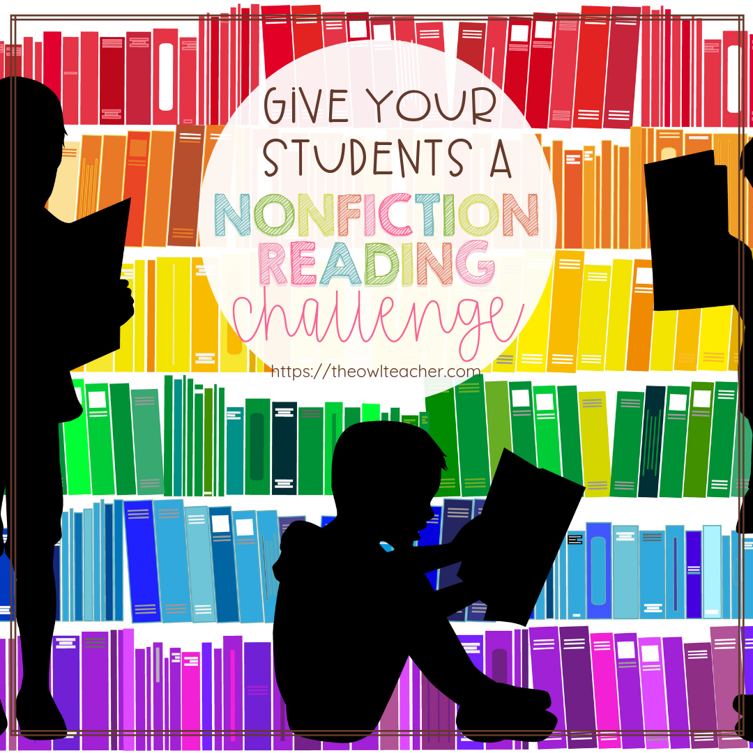 I wanted my students to be exposed to many different types of nonfiction reading - especially with the common core standards requiring it. That's when I decided to create this reading challenge freebie to engage them into reading nonfiction more! Check out this reading idea for your elementary classroom!