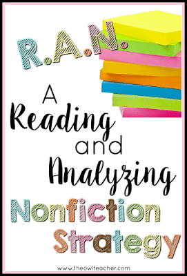 Teaching nonfiction can be engaging and informative with this strategy that will get your students thinking! Click here to learn about the RAN Strategy and how to use it in your classroom!