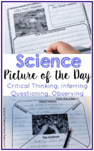 This is a Science Picture of the Day activity or science warm up center. Students analyze real life photographs and infer the science in it. It is an excellent way to practice observation, noting key details, practice science vocabulary, and infer. A higher order thinking skill that's perfect for science warm ups.