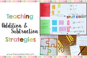 There are a handful of addition and subtraction strategies that can be taught, but in this blog post, I'm sharing exactly how I teach the split strategy for addition and subtraction. Read all of my steps and download a free resource to help you implement the split strategy in your math instruction!