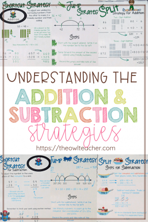 """The Common Core State Standards reference several """"different"""" strategies for addition and subtraction, but when you really research them, you discover that there are really only three strategies. In this post, I teach you about the split strategy, the jump strategy, and the shortcut strategy. Get all of the details here"""