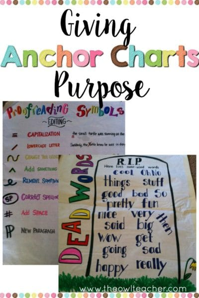 Giving Anchor Charts Purpose - The Owl Teacher