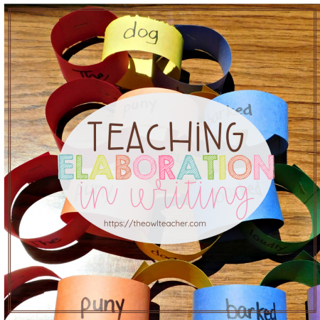 Teaching elaboration in writing seems nearly impossible sometimes, as kids often take that to mean that you want them to describe every little detail. However, this engaging paper link activity helps kids understand what true elaboration means. Read all about it in this post!
