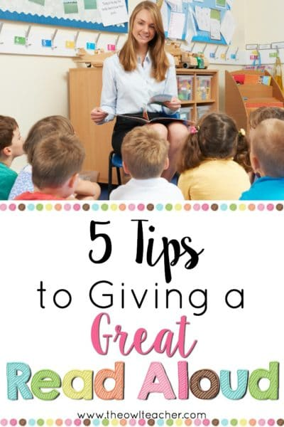 Giving a great read aloud is tantamount to helping kids enjoy reading. In this post I share five tips to giving a great read aloud, as well as three tips for choosing the right read aloud. There are a few important factors that go into making read aloud time fun and successful for kids!