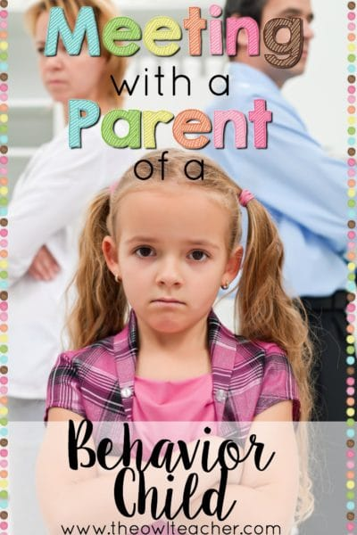Do you need to meet with a parent over a child with behavior issues in your classroom? Check out this post to give you some great ideas to help you manage that meeting!