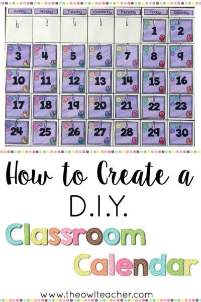 Calendar Design Using Photo : How to create a diy classroom calendar the owl teacher