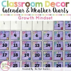 Growth Mindset Calendar and Weather Chart Set {EDITABLE too!}