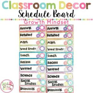 Growth Mindset Classroom Schedule Cards