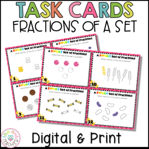 Fractions of a Set Task Cards (Printable & Digital Version)