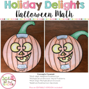 Halloween Pumpkin Math Trivia Wheel