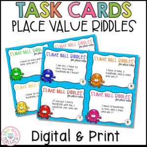 "Place Value Task Cards: ""Who Am I?"" Theme Printable & Digital"