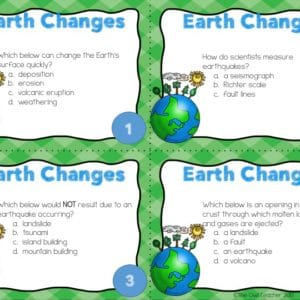 Earth Changes Task Cards Printable & Digital