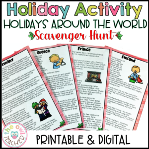 Holidays Around the World Scavenger Hunt with Reading Passages (Digital & Print)