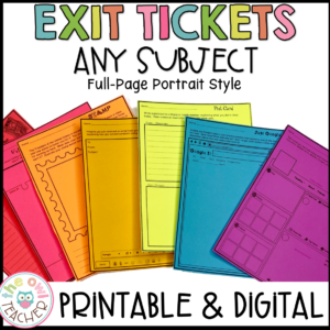 Exit Ticket & Assignment Ideas Full Page Printable & Digital (Google)
