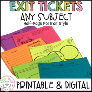Exit Tickets | Exit Slips Printable & Digital (Google)- Half Page Style