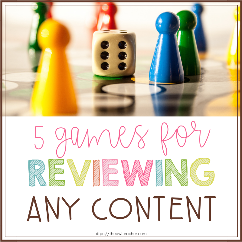 Are you looking for some games that you can use whole group to review important content with your class before a test? Check out these 5 engaging games for reviewing!