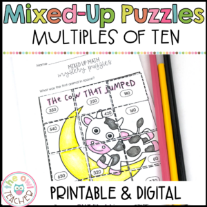 Multiples of Ten Mixed Up Puzzle Printable & Digital (Google)