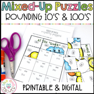 Rounding to the Nearest 10 & 100 Mixed Up Puzzles Printable & Digital (Google)