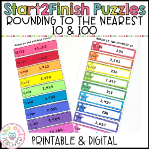 Rounding to 10 and 100 Start2Finish Printable & Digital (Google) Math Puzzles