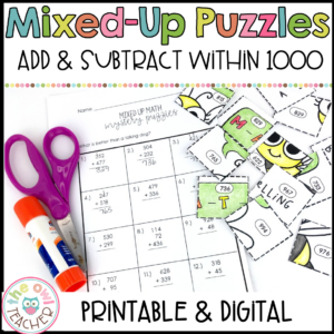 Add & Subtract within 1000 Mixed Up Puzzles Printable & Digital (Google)