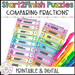 Comparing Fractions Start2Finish Math Puzzles Printable & Digital