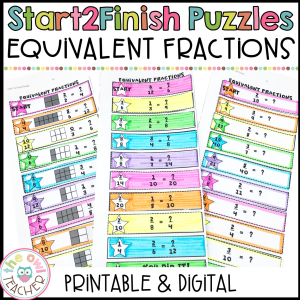 Equivalent Fractions Start2Finish Printable & Digital (Google) Math Puzzles
