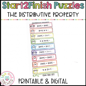 Distributive Property Start2Finish Printable & Digital (Google) Math Puzzles