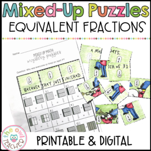 Equivalent Fractions Mixed Up Puzzles Printable & Digital (Google)