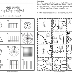 Identifying Fractions Mixed Up Mystery Math Puzzles Printable & Digital