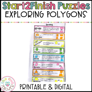 Exploring Polygons Start2Finish Math Puzzles Printable & Digital